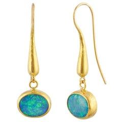 Gurhan 24 Karat Hammered Yellow Gold Opal Dangle Drop Earrings