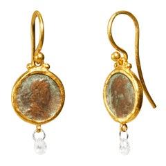 Gurhan 24 Karat Hammered Yellow Gold Roman Coin and Diamond Brio Drop Earrings