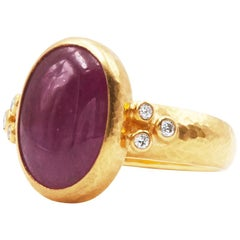 GURHAN 24 Karat Hammered Yellow Gold Ruby Cabochon and Diamond Cocktail Ring