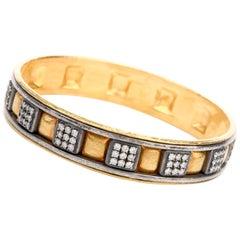 Gurhan 24 Karat Pure Gold Silver Diamond Bangle Bracelet