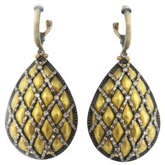 Gurhan 24 Karat Solid Yellow Gold and Silver Dangle Drop Earrings
