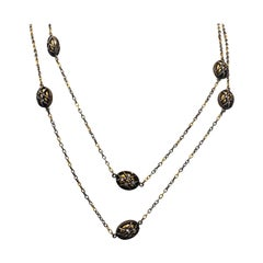 Gurhan 24 Karat Yellow Gold and Silver Diamond Long Chain Necklace