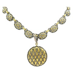 Gurhan 24 Karat Yellow Gold and Silver Diamond Necklace