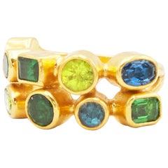 GURHAN 24 Karat Yellow Gold Sapphire, Peridot, Topaz, Tourmaline, Tsavorite Ring