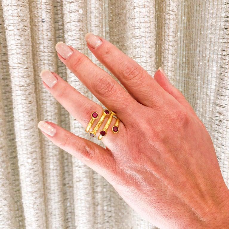 Gurhan 24 Karat Gold Red Topaz Coil Ring For Sale 5