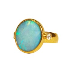 GURHAN 24 Karat Hammered Yellow Gold Australian Opal and Diamond Cocktail Ring