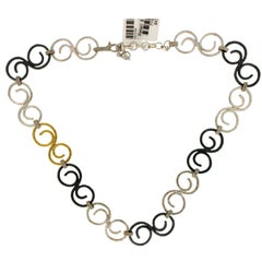 Gurhan 925 Sterling Silver and Gold Vortex Link Chain Necklace