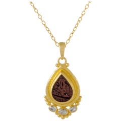 Gurhan Amulet Hue 24K/22K Gold Diamond and Arabic Intaglio Pendant Necklace