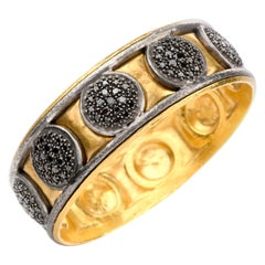 Gurhan Black Diamond 24 Karat Gold Silver Wide Bangle Bracelet