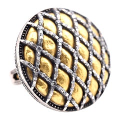 Gurhan Capitone 24 Karat Yellow Gold and Sterling Silver Diamond Ring