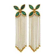 Gurhan Gold Emerald Diamond Tassel Earrings