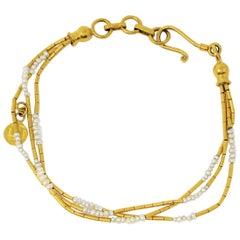 Gurhan Hammered 24 Karat Yellow Gold Seed Pearl Multi Strand Station Bracelet