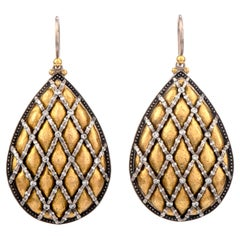 Gurhan Hand Hammered 24 Karat Gold Silver Diamond Dangle Drop Earrings