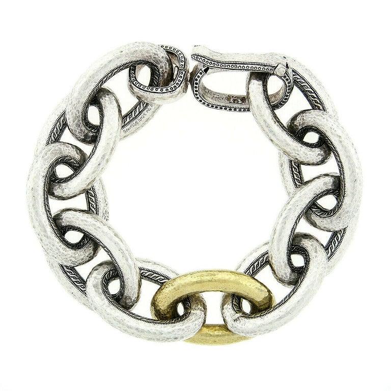 Women's or Men's Gurhan Hoopla Sterling Silver 24k Gold Large Hammered Cable Link Chain Bracelet