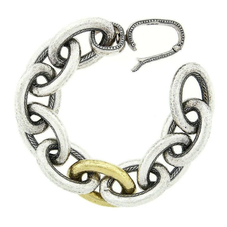 Gurhan Hoopla Sterling Silver 24k Gold Large Hammered Cable Link Chain Bracelet 1