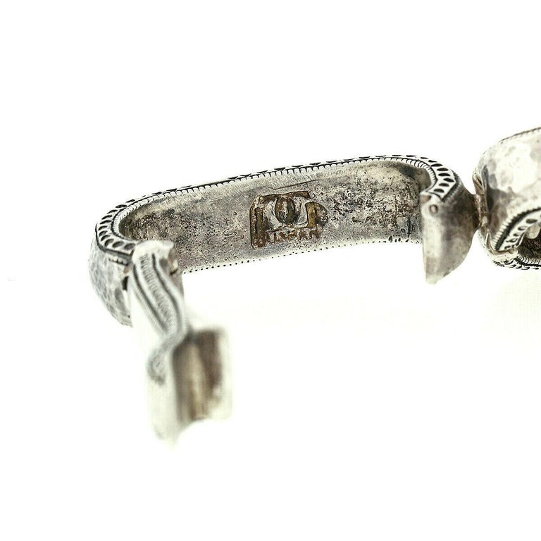 Gurhan Hoopla Sterling Silver 24k Gold Large Hammered Cable Link Chain Bracelet 2