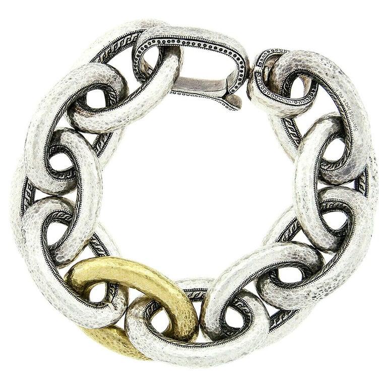 Gurhan Hoopla Sterling Silver 24k Gold Large Hammered Cable Link Chain Bracelet