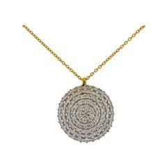 Gurhan Large Lentil Gold Diamond Pendant Necklace