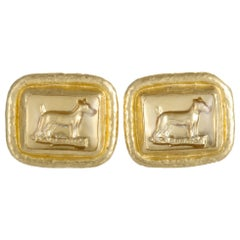 Gurhan Men's 24 Karat Yellow Gold and Crystal Dog Cufflinks