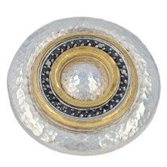 Gurhan Moon Beam Ring, 24k Yellow Gold & Sterling Silver Black Diamonds