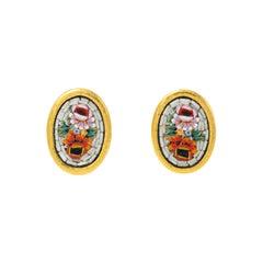 Gurhan One of a Kind Mosaic Earrings in 24 Karat Yellow Gold