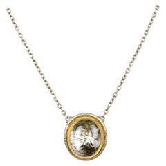Gurhan One-of-a-Kind Sterling Necklace w/ Tourmalated Quartz Pendant w/ 24k Gold