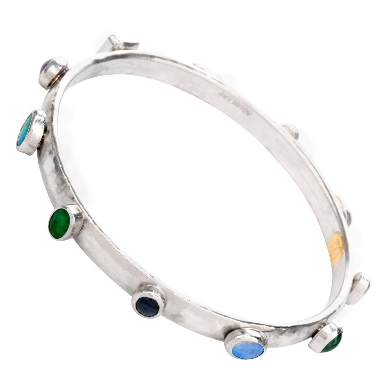 Gurhan Platinum Emerald Sapphire Opal Bangle Bracelet