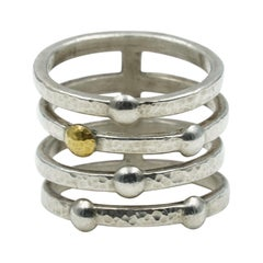 Gurhan Silver Multi-Strand Fashion Ring in Sterling Silver/24K, SSR4-LTM-5S1G