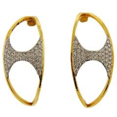 Gurhan Tuxedo Gold Diamond Half Hoop Earrings