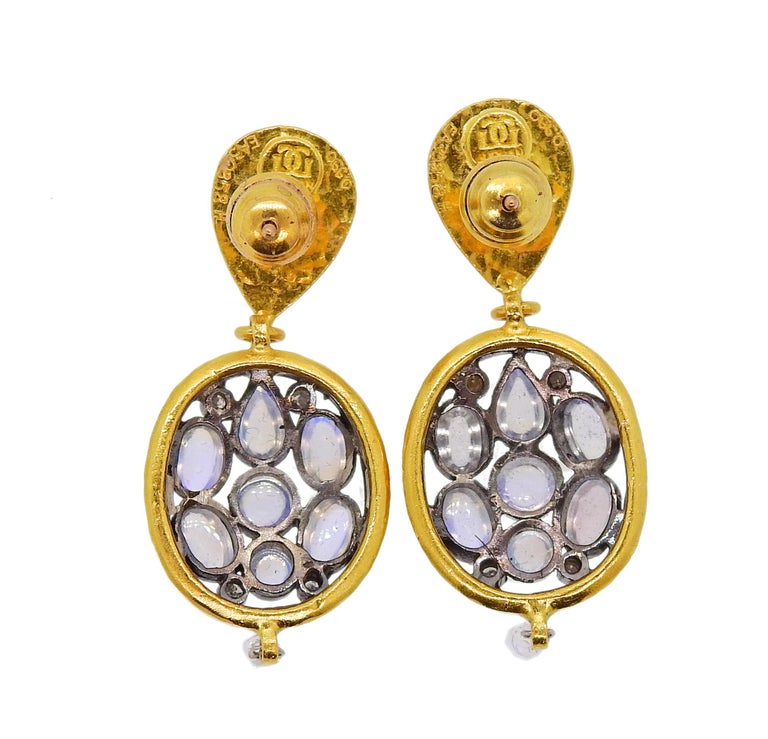 Brand new item made in  24K yellow gold and silver Venus Moonstone double oval drop earrings by Gurhan, set with approx. 0.20ctw of GH/VS white briolette diamonds. Retail $5,580. Earrings measure 40mm x 16mm. Weight is 13.2 grams. Marked: Gurhan ,