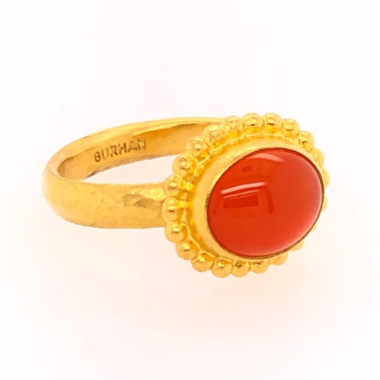 Anglo-Indian Gurhan Yellow Gold Fire Opal Ring