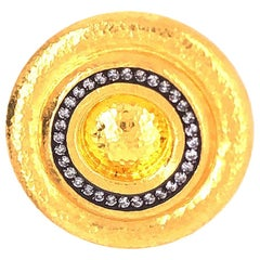 Gurhan Yellow Gold Shield Ring with Diamonds