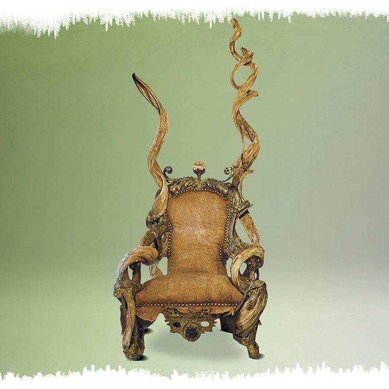 French Guru High Armchair with Amethyst and Citrine Stone For Sale