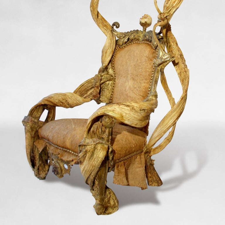 Guru High Armchair with Amethyst and Citrine Stone In Excellent Condition For Sale In Paris, FR