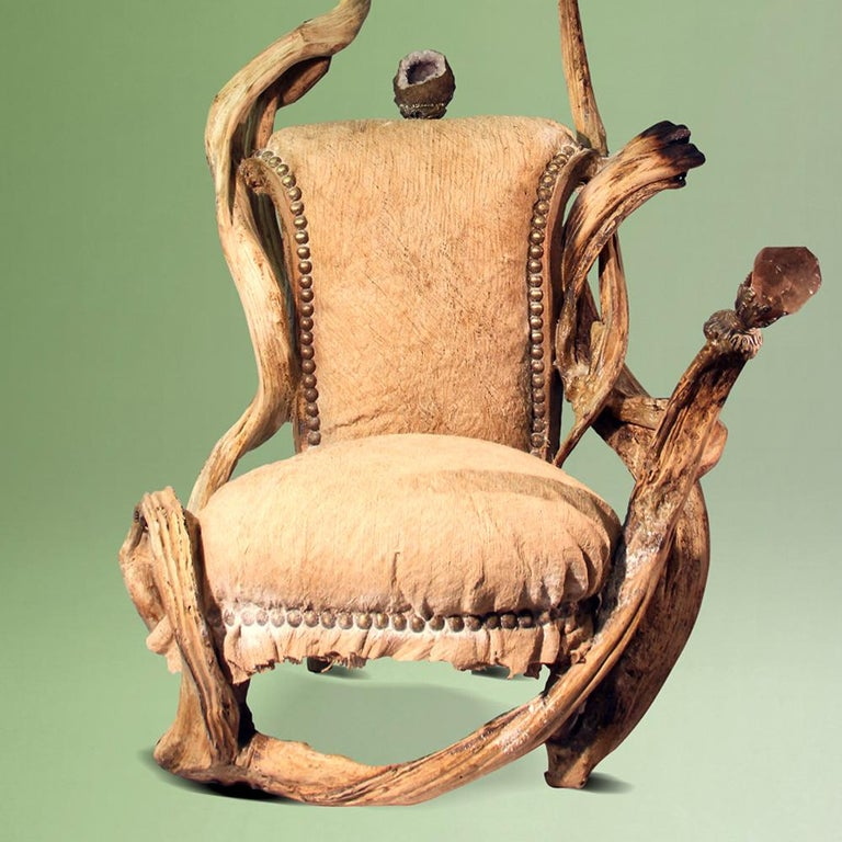 Hand-Carved Guru High Armchair with Amethyst Stone For Sale