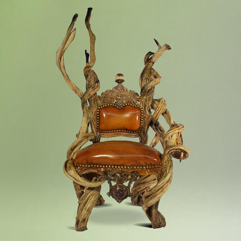 French Guru Latex Armchair with Amethyst and Citrine Stone For Sale
