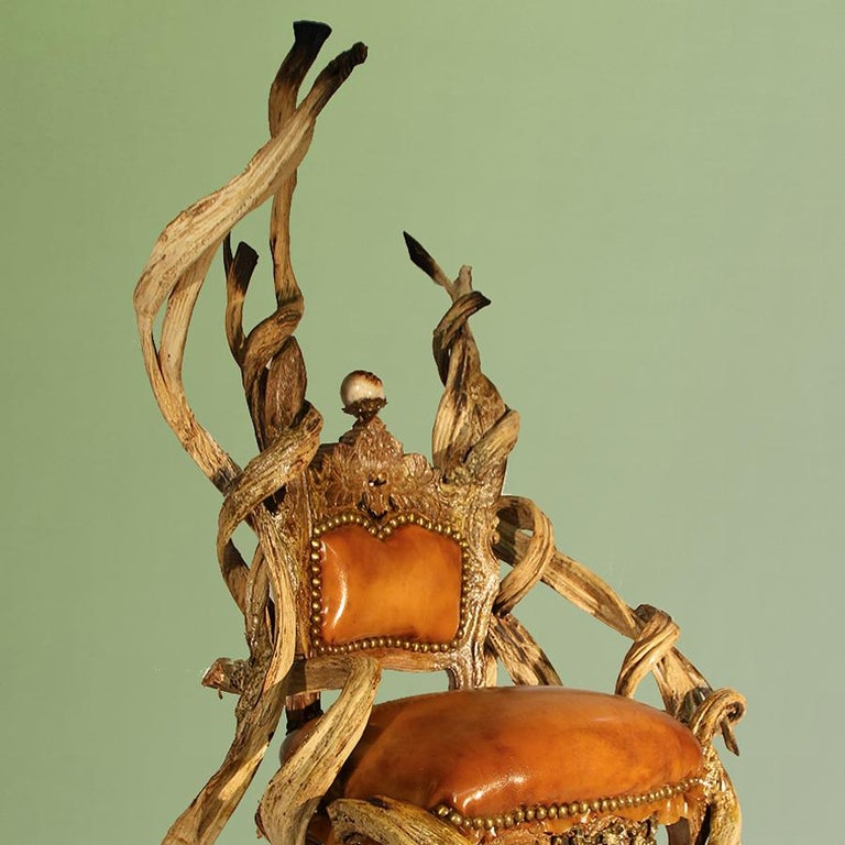 Bronze Guru Latex Armchair with Amethyst and Citrine Stone For Sale