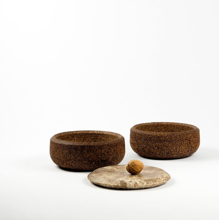 Italian Guscio, Contemporary Storage Vessels or Sculptures in Marble and Wood For Sale