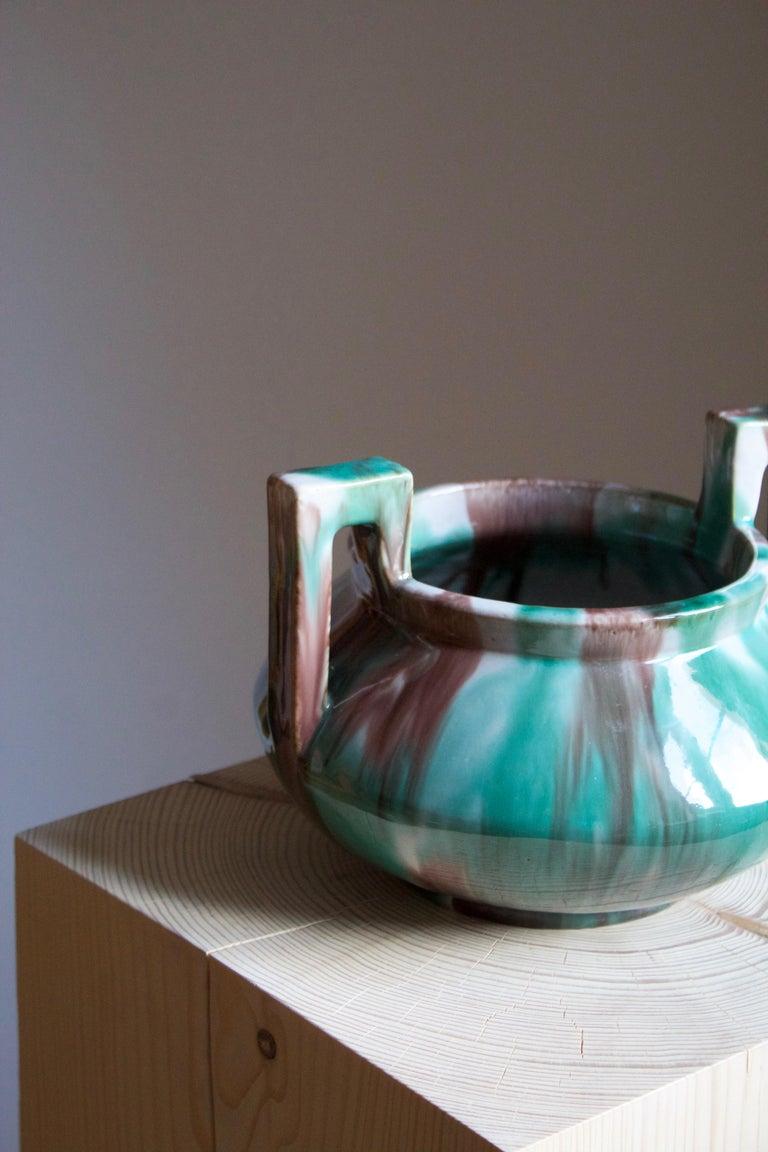 Scandinavian Modern Gustaf Ahlberg, Vase, Glazed Earthenware, Höganäs, circa 1930s For Sale