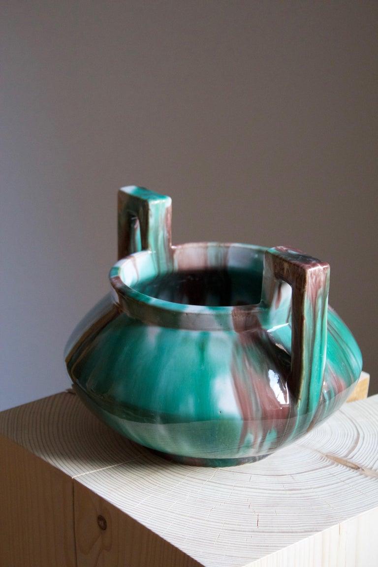 Swedish Gustaf Ahlberg, Vase, Glazed Earthenware, Höganäs, circa 1930s For Sale