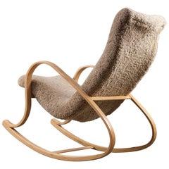 Gustaf Axel Berg Rocking Chair in Sheepskin, 1950s