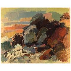 "Gustaf Höglund '1910-1994', Swedish Artist, ""Brittany"", Modernist Rock Landscape"