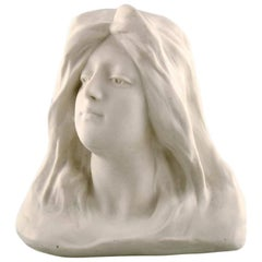 Gustafsberg/Gustavsberg Bust of Young Woman Art Nouveau Sculpture in Biscuit