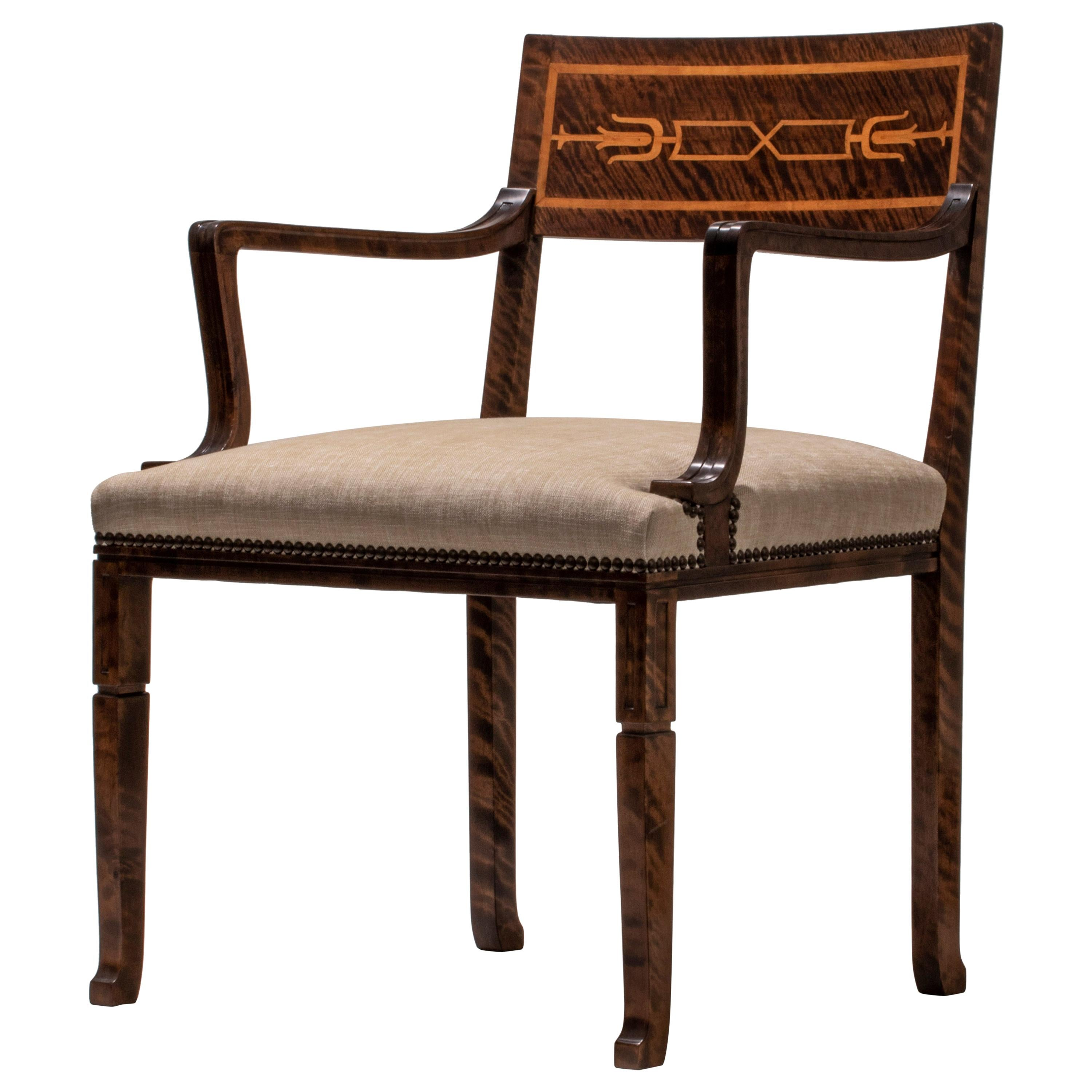Gustav Bergström, Swedish Grace Period Quilted Birch and Marquetry Armchair
