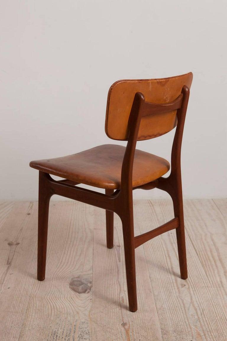 Gustav Bertelsen, Danish craftsman chair, mahogany and original leather, circa 1940, with original label: GUSTAV BERTELSEN / Snedkermester / København / Denmark.  Very comfortable; great desk chair.