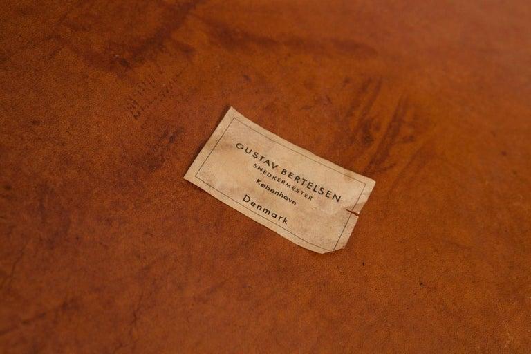 Mid-Century Modern Gustav Bertelsen, Danish Craftsman Chair, Mahogany and Original Leather For Sale