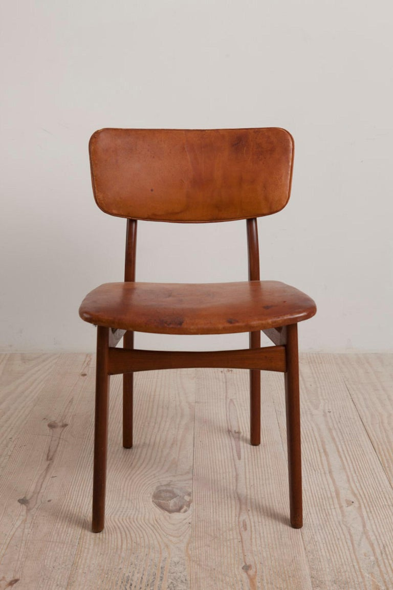 Gustav Bertelsen, Danish Craftsman Chair, Mahogany and Original Leather In Excellent Condition For Sale In New York, NY
