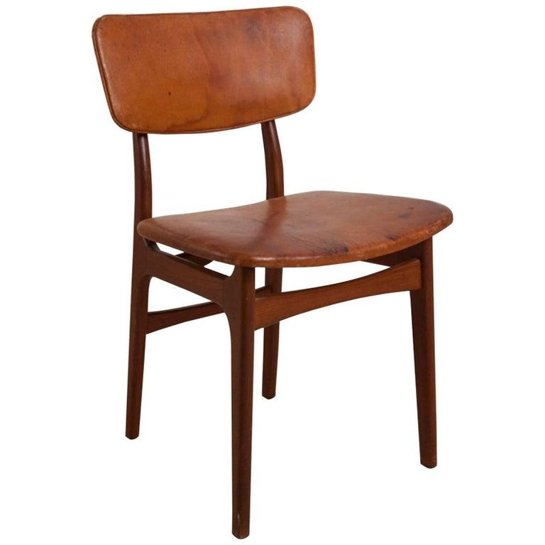 Gustav Bertelsen, Danish Craftsman Chair, Mahogany and Original Leather For Sale
