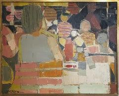 Au Café, Hommage à de Stael , Large Mid 20th Century Oil on Canvas.
