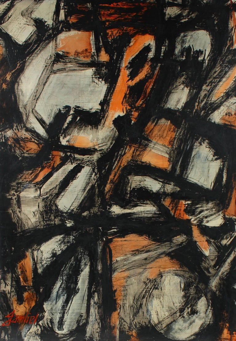 Gustav Friedmann Dark Expressionist Abstract Circa